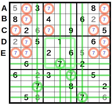 X,Wingが複数回出てくるナンプレ問題(4)2つの重なったX,Wing
